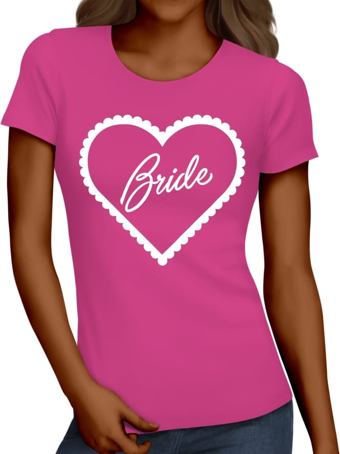 Hen Party Superstore Frilly Heart 'Bride' Hen Party T-Shirts