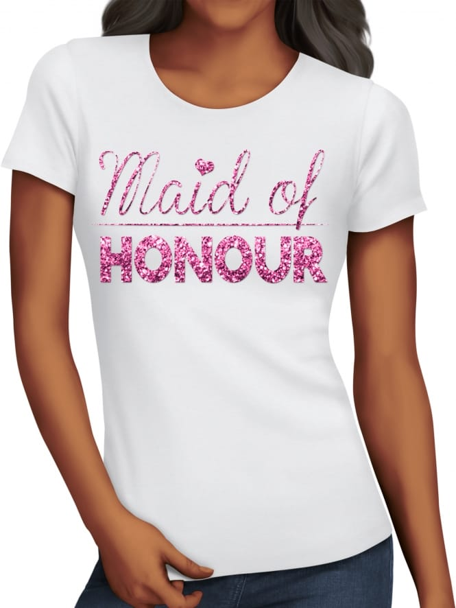 Hen Party Superstore Glitter Maid Of Honour T-Shirts