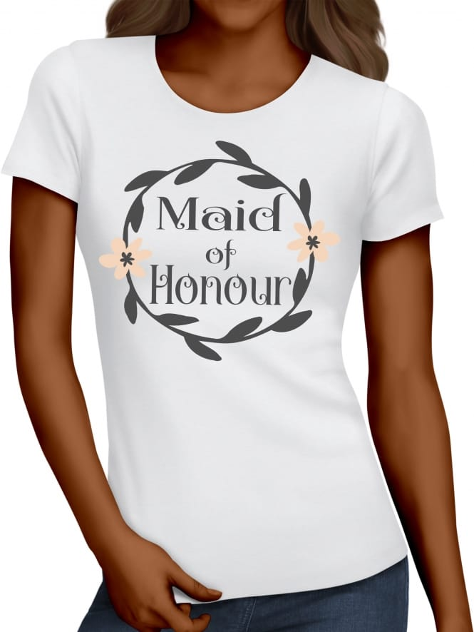 Hen Party Superstore Wreath Design Maid Of Honour T-Shirts