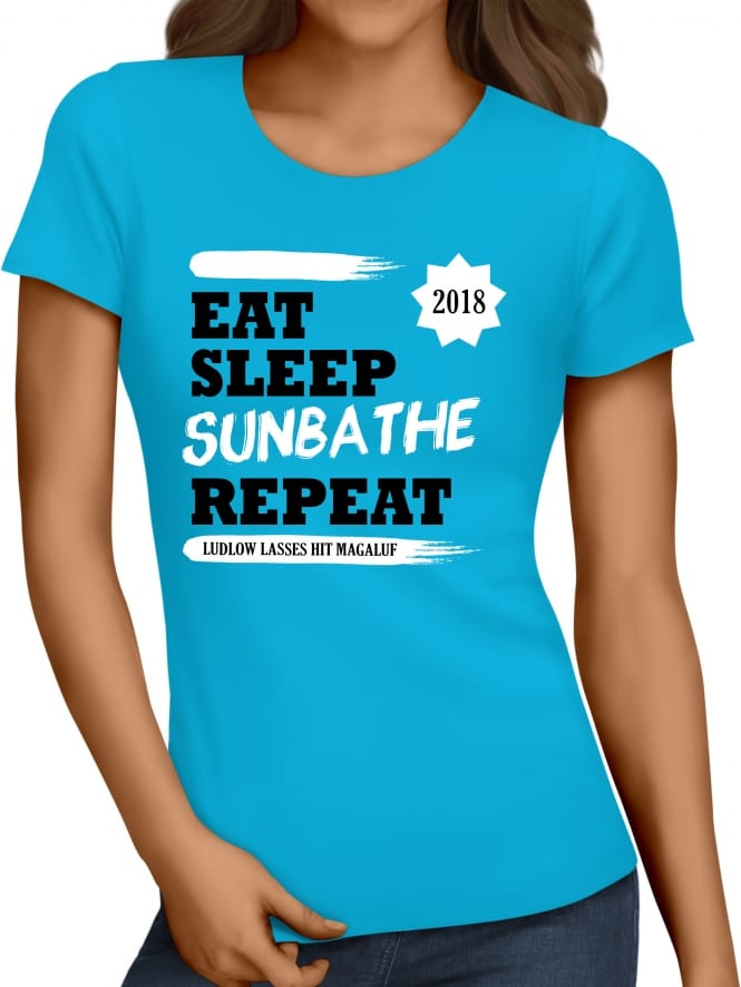 Hen Party Superstore Eat Sleep Sunbathe Repeat Girls Holiday T-Shirt