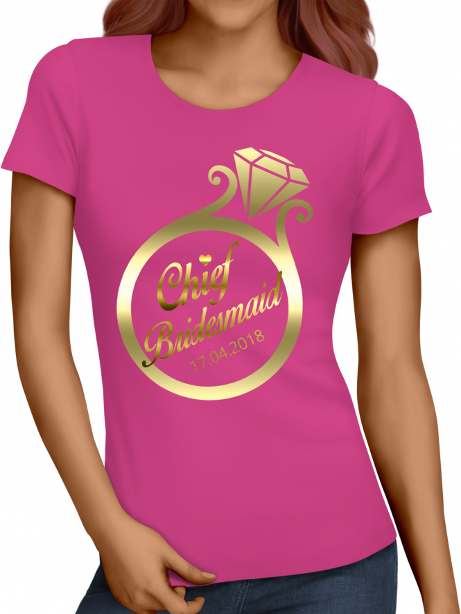 Hen Party Superstore Gold Ring Chief Bridesmaid T-Shirts
