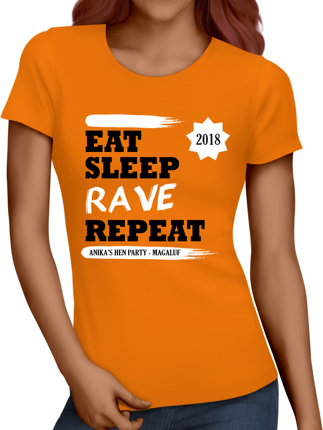 Hen Party Superstore Eat Sleep Rave Repeat Holiday T-Shirt