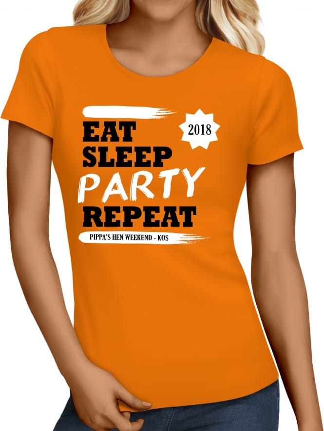 Hen Party Superstore Eat Sleep Party Repeat Holiday T-Shirts