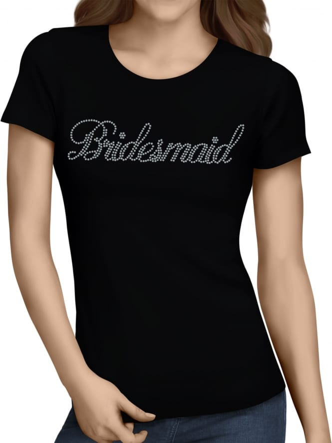 Hen Party Superstore Bridesmaid Silver Diamante/Rhinestone T-Shirts