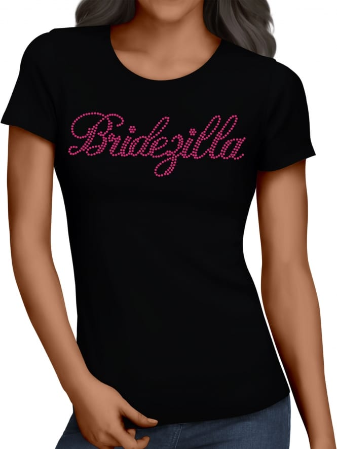 Hen Party Superstore Bridezilla Pink Diamante/Rhinestone Hen Party T-Shirts