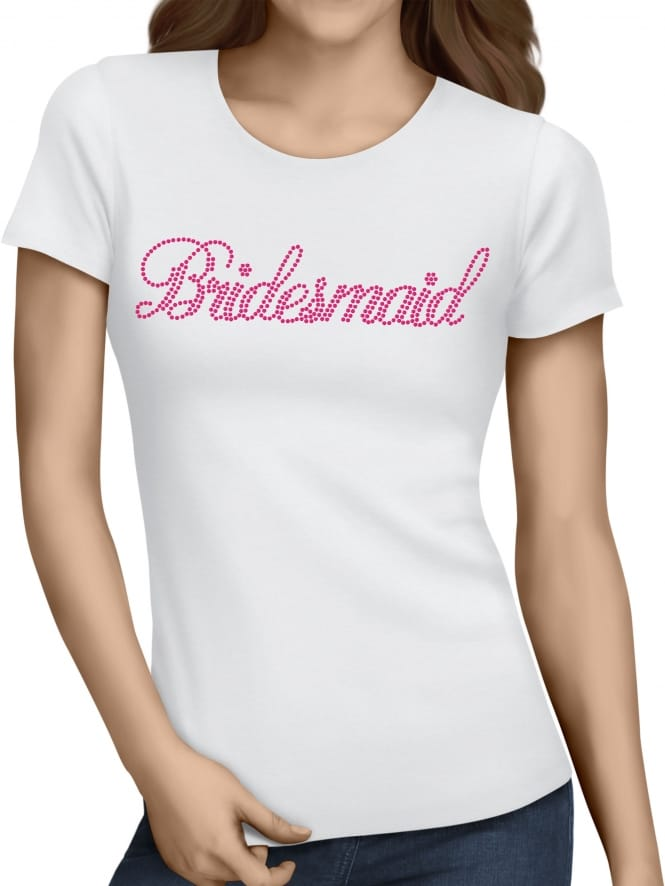 Hen Party Superstore Bridesmaid Pink Diamante/Rhinestone Hen Party T-Shirts