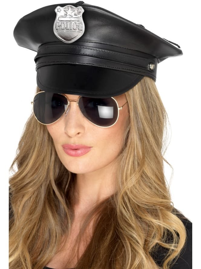 Smiffys Deluxe Police Hat Faux Leather