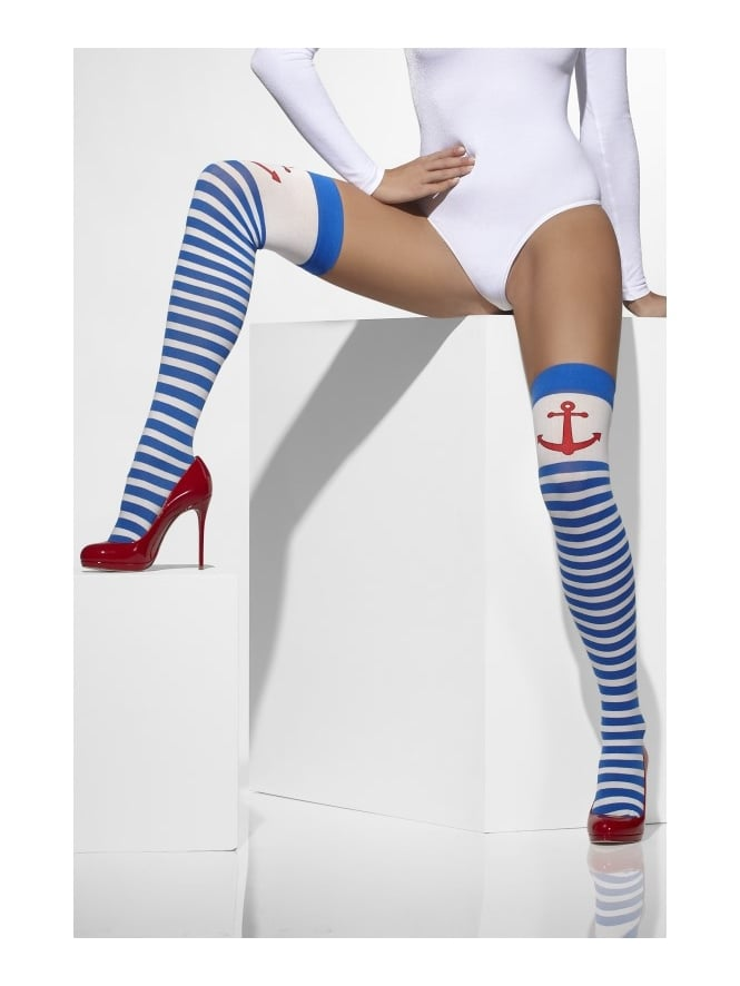 Fancy Dress Sailor Girl Stockings With Red Anchor Detail