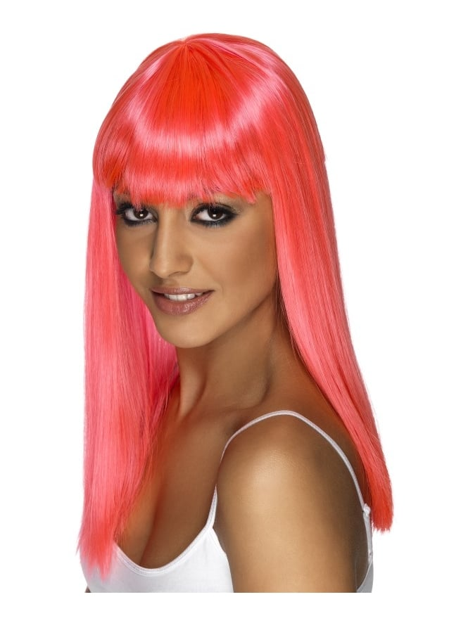 Long Glamour Wig With Fringe (8 Neon Colours)