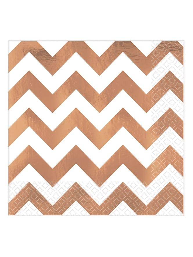 16x Large Premium Chevron Rose Gold Napkins