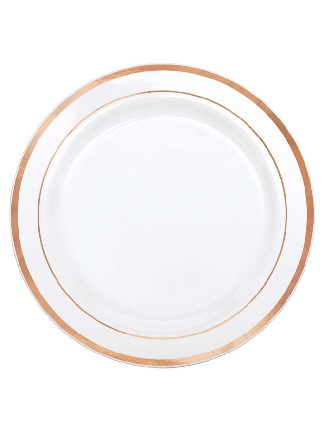 10x Large Rose Gold and White Plastic Plates