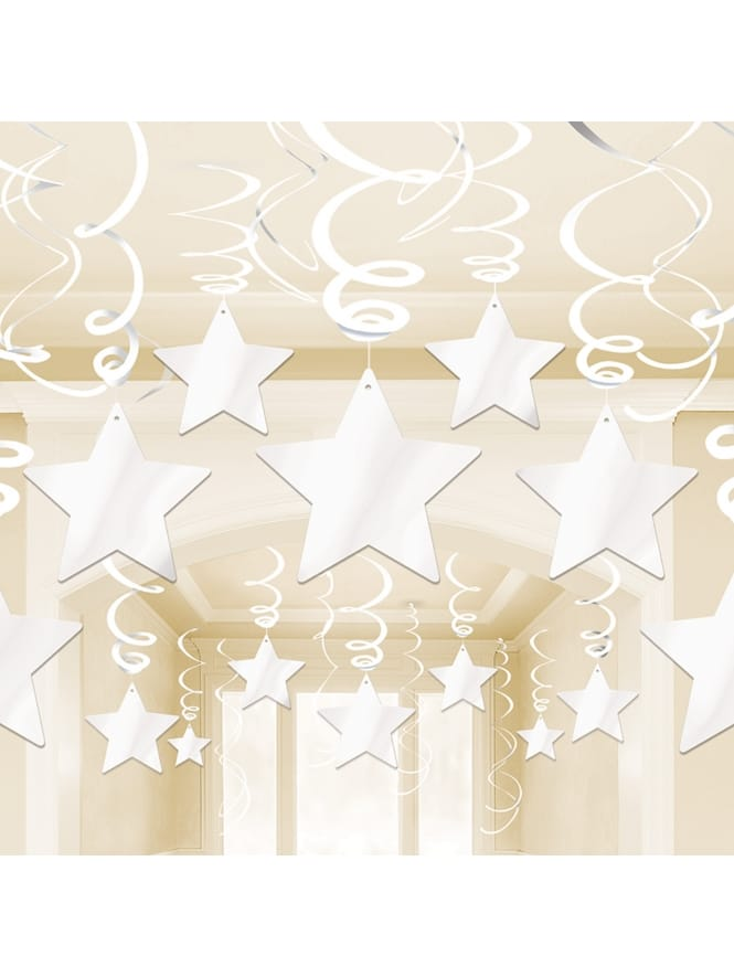 White Swirl and Star Decorations