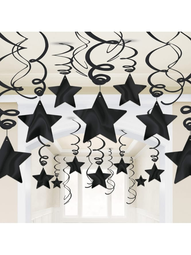 Black Swirl and Stars Decorations