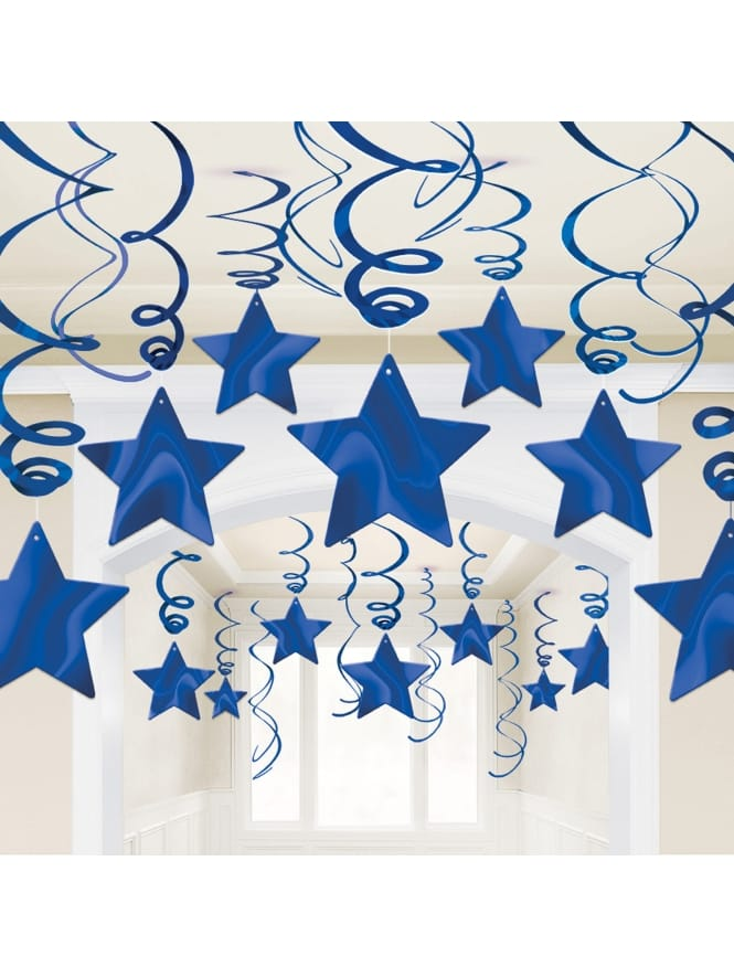 Bright Royal Blue Swirl Decorations