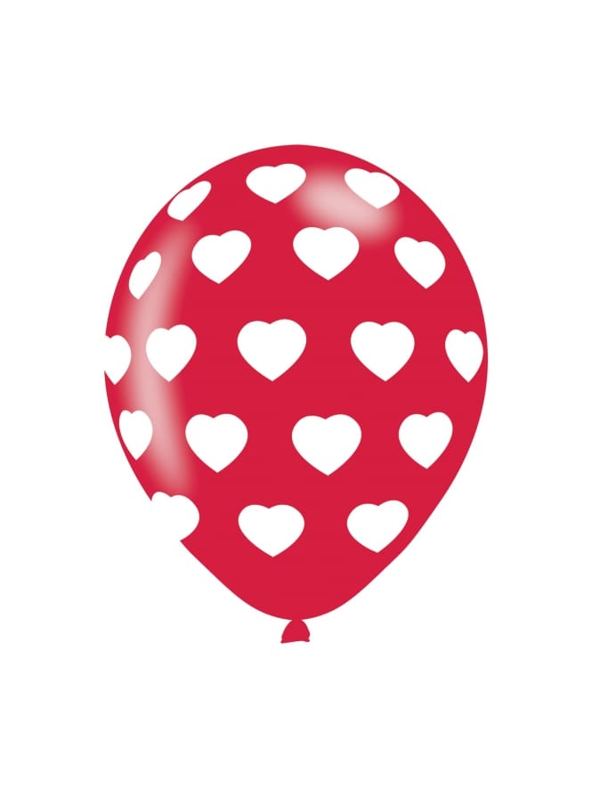 Polka Hearts White On Red Latex Balloons