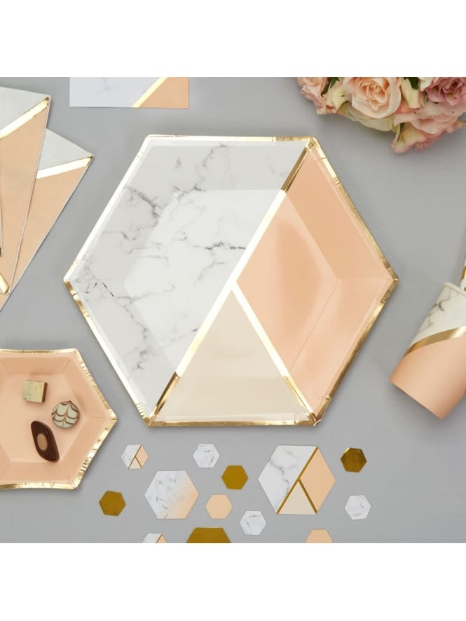 Large Peach Colour Block Marble Plates