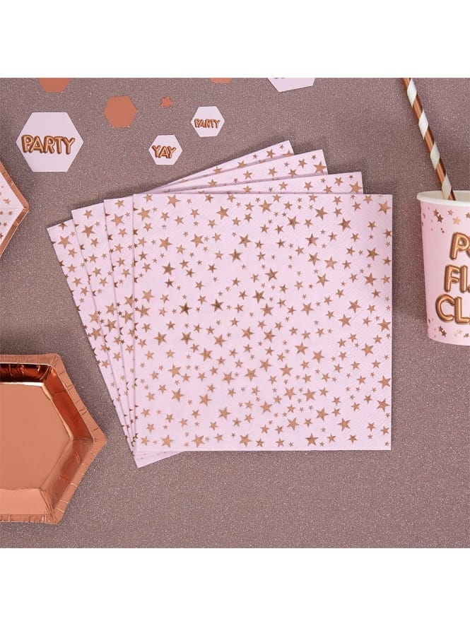 Pink and Rose Gold Starry Napkins