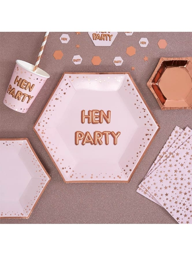 Hen Party Large Rose Gold and Pink Plates