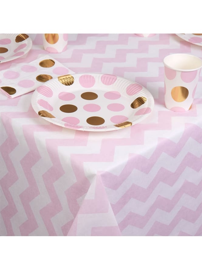 Pink and White Chevron Table Cloth
