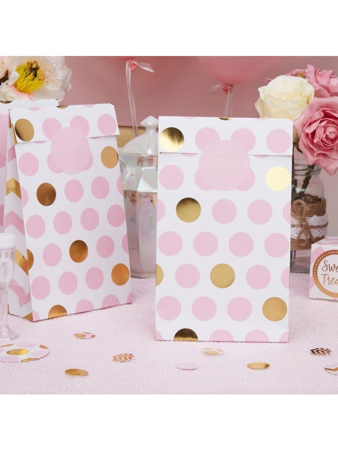 Gold and Pink Spotted Party Bag