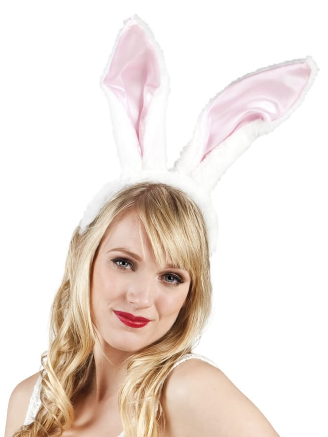 Traditional White and Pink Bunny Ears