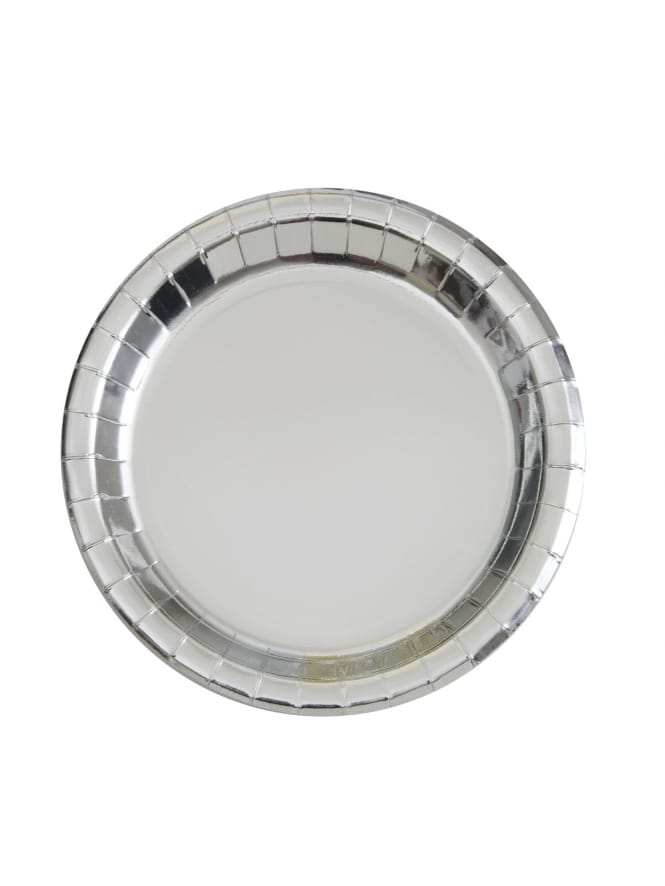 Silver Foil Round Plate (Pack of 8)