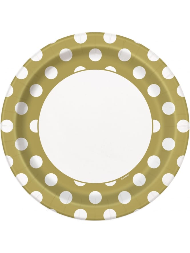 Large Gold Polka Dot Plate