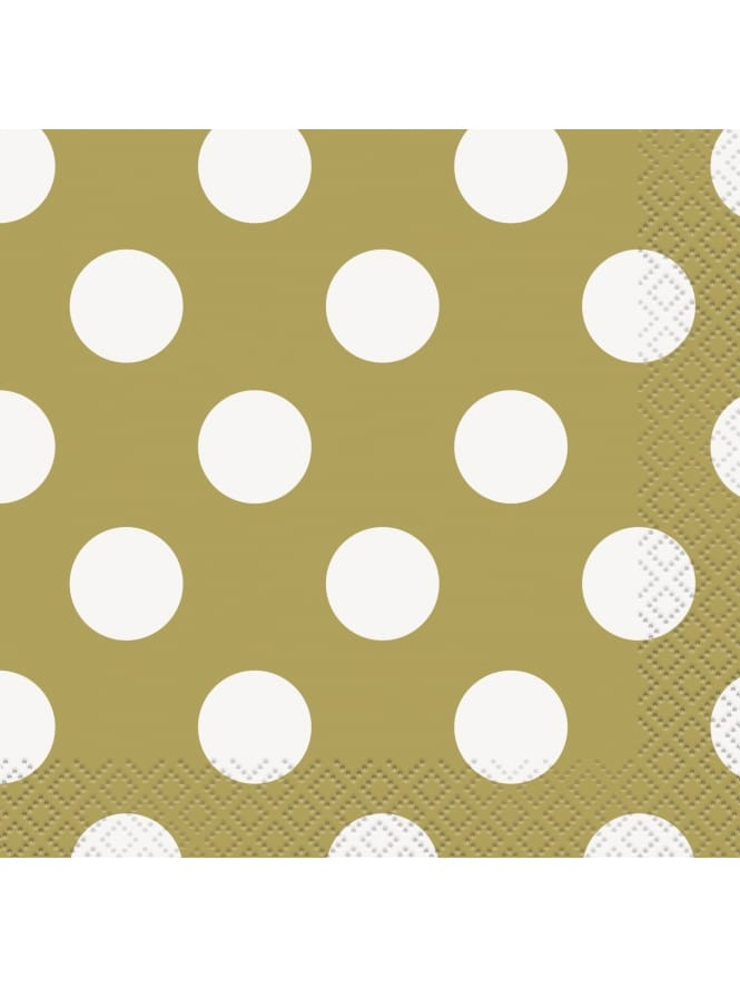 Small Gold Polka Dot Napkins