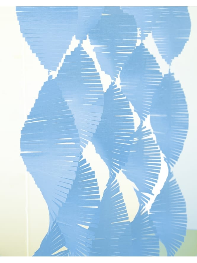 Light Powder Blue Fringed Tissue Spiral Garland
