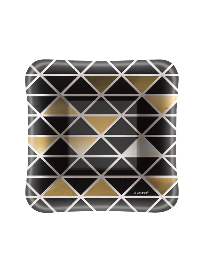 Black and Gold Square Plates (Pack of 8)