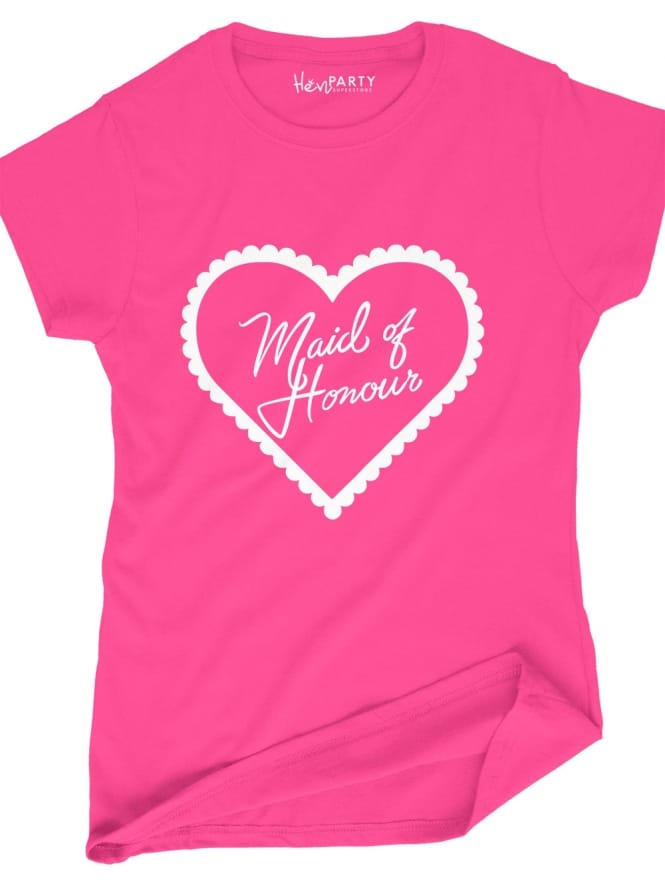 Hen Party Superstore Frilly Heart 'Maid of Honour' Hen Party T-Shirts