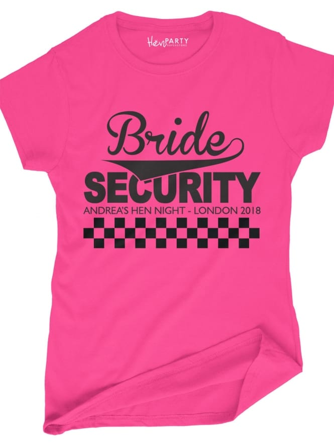 Hen Party Superstore Bridal Security Personalised Hen Party T-Shirts