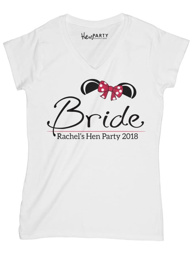 Hen Party Superstore Mouse Bride Personalised Party T-Shirt Red