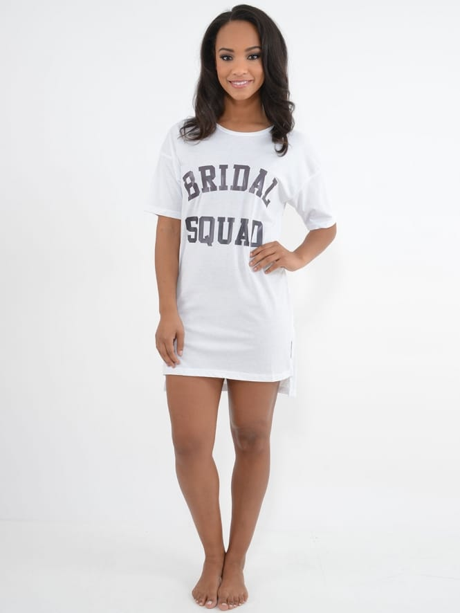 Hen Party Superstore Bridal Squad Nightshirt White