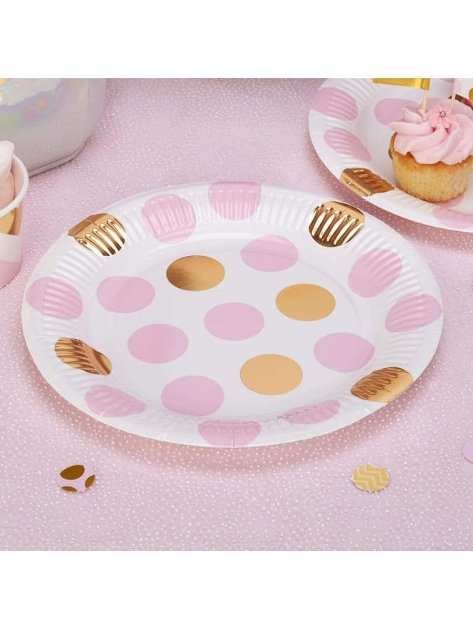Pink and Gold Spotted Plates