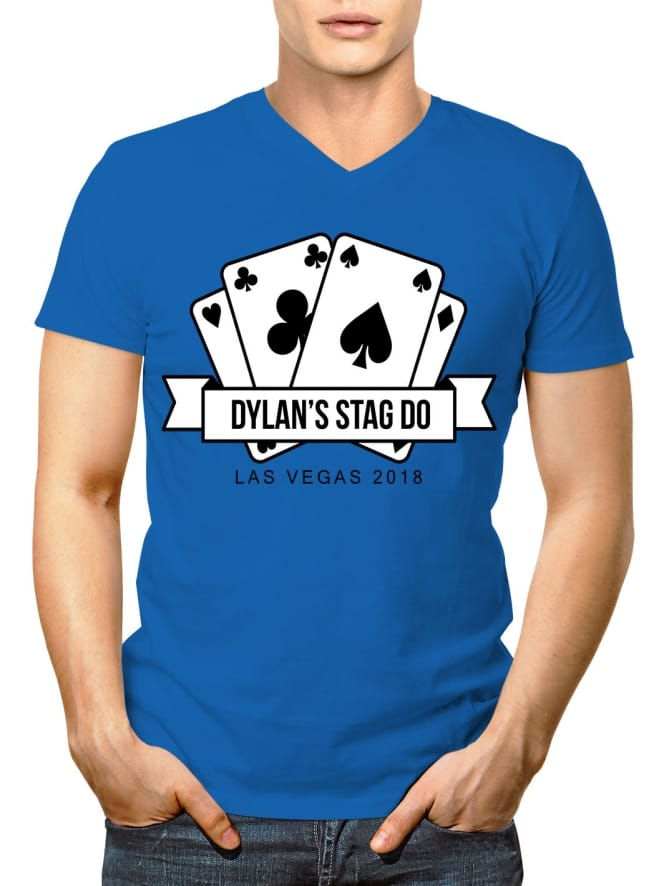 Playing Cards Personalised Stag Party V-Neck T-Shirt