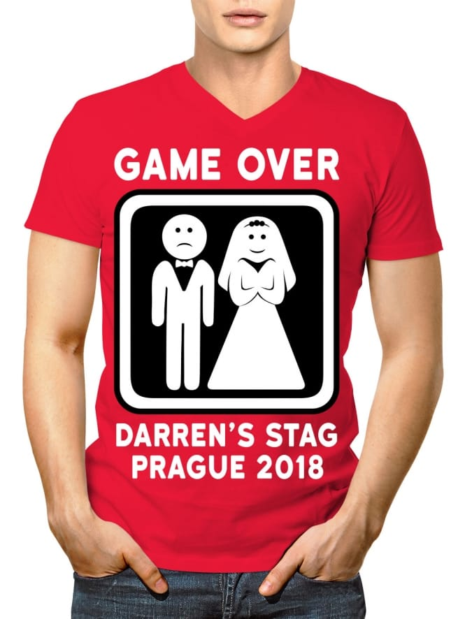 Game Over Personalised Stag Party V-Neck T-Shirt