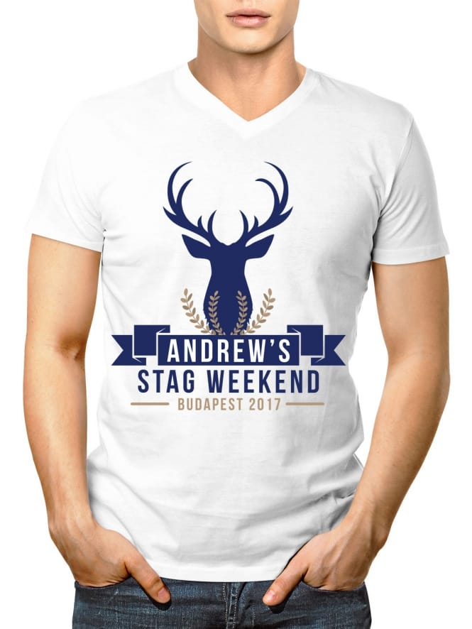 Stag Head Personalised Stag Party V-Neck T-Shirt