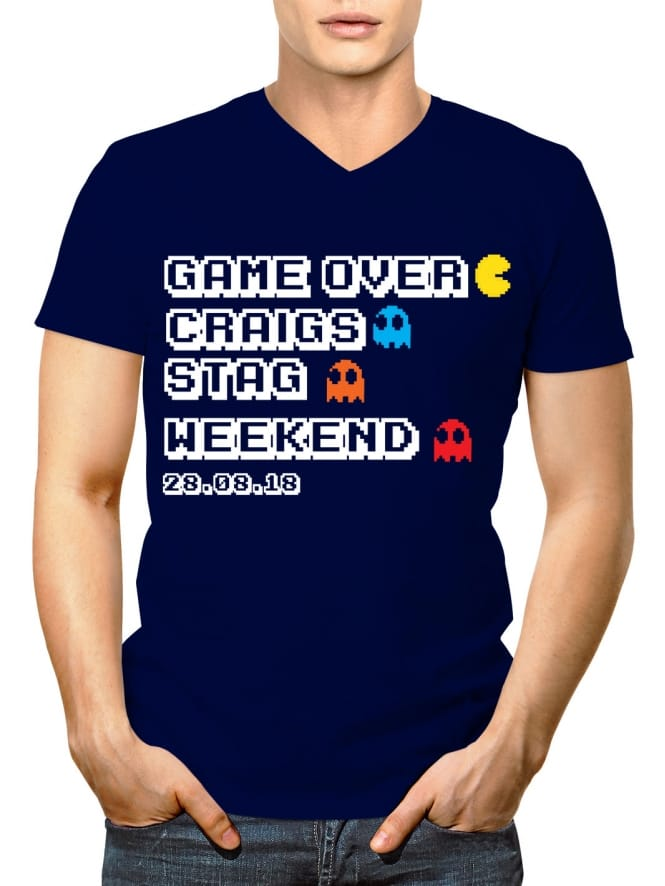 Retro Game Over Personalised Stag Party V-Neck T-Shirt