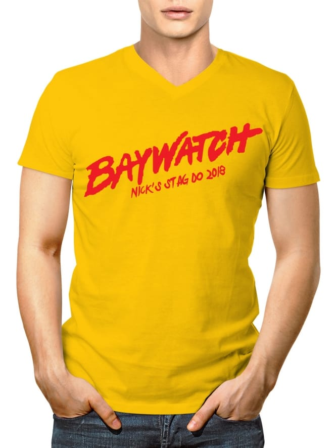Beach Watch Lads Holiday V-Neck T-Shirt