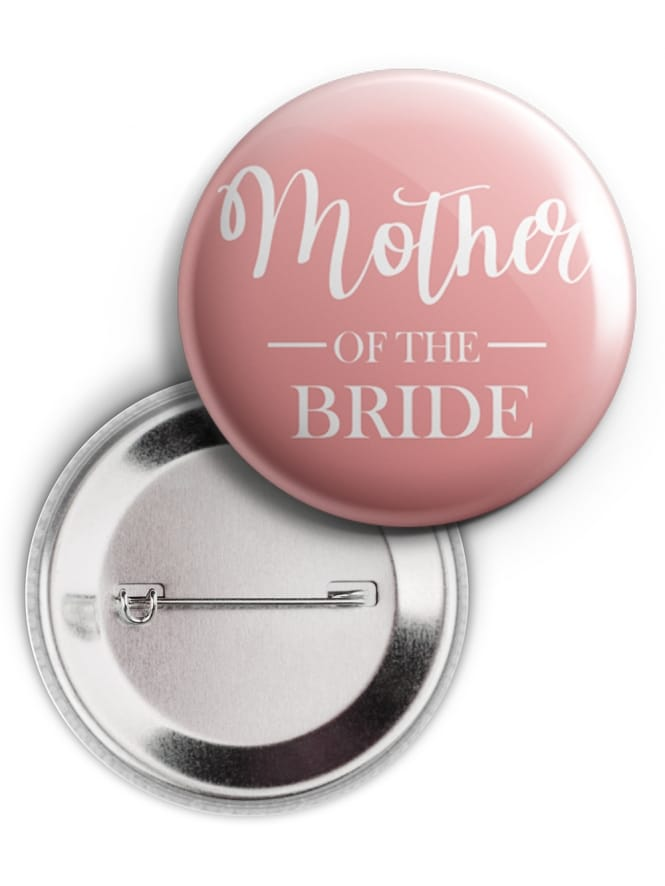 Mother of the Bride Swirly Pink Badge