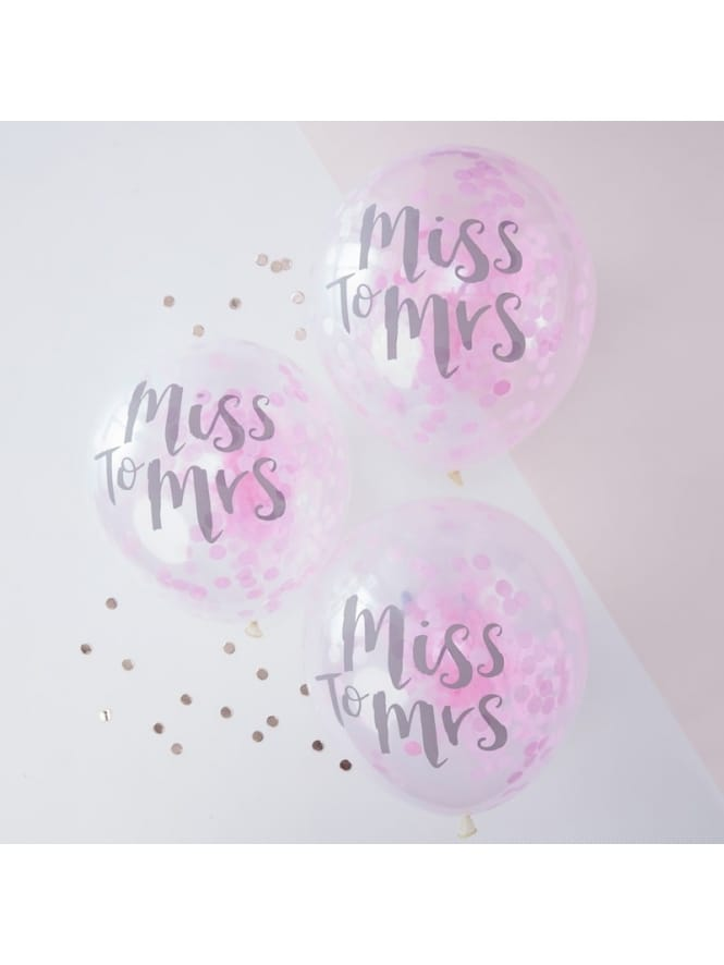 Ginger Ray Team Bride MISS TO MRS Pink Confetti Balloons