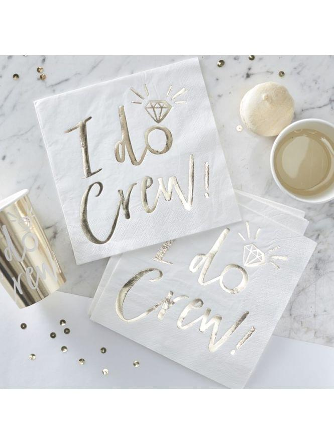 Ginger Ray I DO CREW White and Gold Foiled Paper Napkins