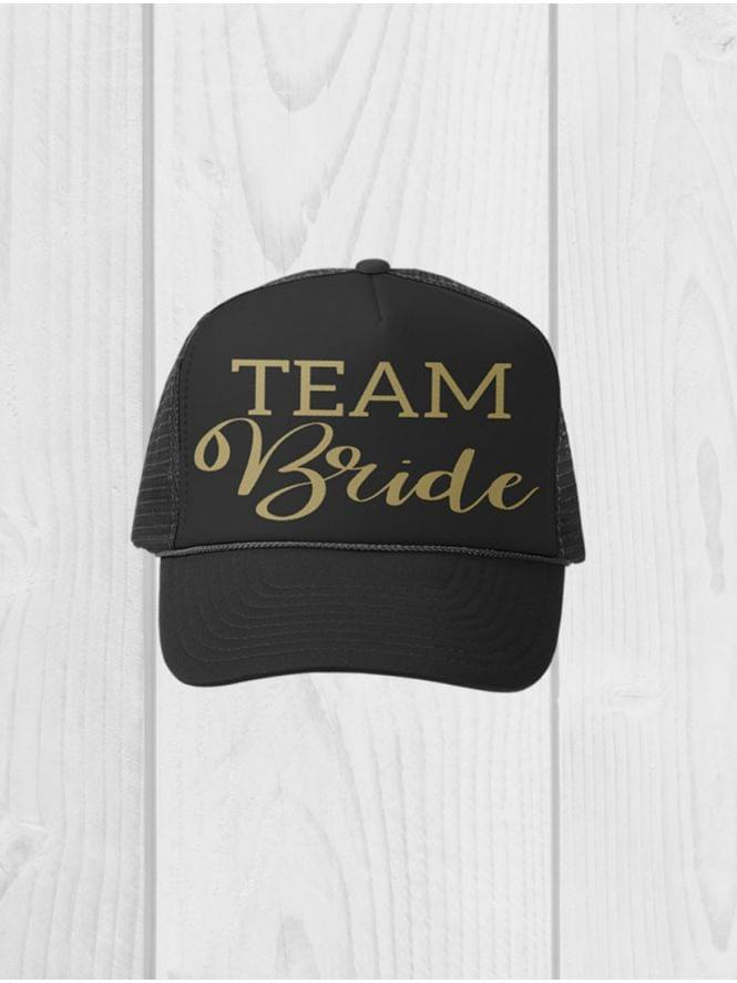 Black 'Team Bride' Peaked Cap