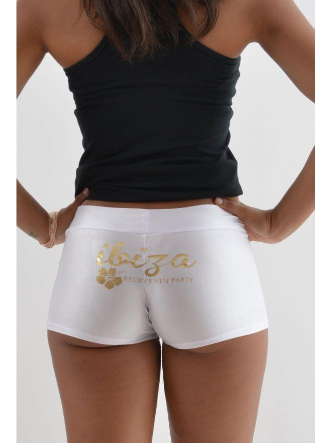 Personalised White Hot Pants