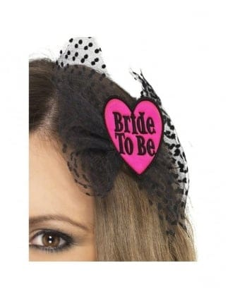 Pink and Black Bride To Be Hair Bow Hair Slide