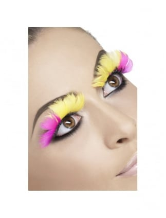 Pink & Yellow Feather Eyelashes (With Glue)