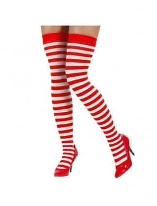 Over The Knee Red/White Striped Socks
