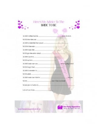 Advice For The Bride To Be Free Hen Party Game