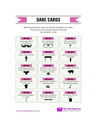 Free Dare Cards Hen Party Game